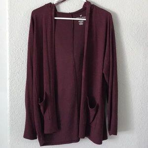 small burgundy cardigan